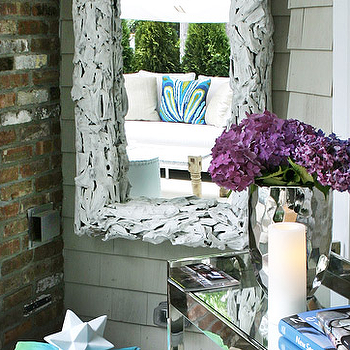Elsa Soyars - decks/patios - driftwood mirror, white driftwood mirror,  Chic deck patio design with rustic white branches mirror, mirrored console