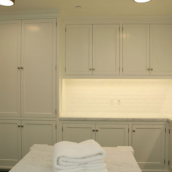 Giannetti Home - laundry/mud rooms - laundry room cabinets, white laundry room cabinets, calcutta marble, calcutta marble countertops, white laundry room, laundry room odeas, Sienna Flush Mount,