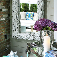 Elsa Soyars - decks/patios - white, branches, mirror, exposed brick mirror, mirrored, console, table, hammered, metal, vase, silver, woven stool, ottoman,