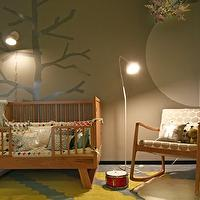 nurseries - taupe, gray, walls, mid-century modern, wood, rocking chair, white, gray, modern, fabric, cushions, gray, yellow, rug, wood crib, gray, tree, wall decal, treel mural, tree wall mural, wall stencil, tree wall stencil, tree stencil for wall,