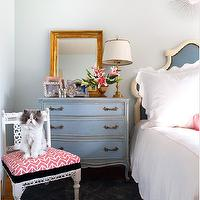 Sara Tuttle Interiors - bedrooms - french nightstands, blue nightstand, blue french nightstands, chest as nightstand, gold leaf mirror, beveled mirror, gold beveled mirror, gold leaf beveled mirror, french headboard, scalloped bedding,