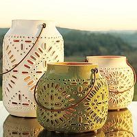 Decor/Accessories - Punched Ceramic Lanterns | Pottery Barn - pinched, ceramic, lanterns