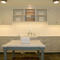Giannetti Home - laundry/mud rooms - laundry room cabinets, white laundry room cabinets, laundry room, white laundry room, laundry room design, laundry room ideas, laundry room island, white marble countertops, subway tiled backsplash, laundry room shelves, laundry room shelving, Siena Flush Mount with Flat Glass Panel,