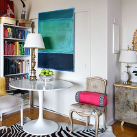 Sara Tuttle Interiors - living rooms - gray, cane, French, chair, zebra, cowhide, rug, gold leaf, mirror, mirrored, chest,  Chic eclectic office