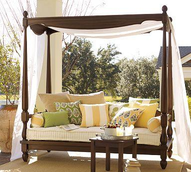 Balinese daybed canopy pottery barn for Outdoor lounge bed with canopy