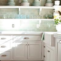 Decor de Provence - kitchens - subway tiles, green subway tiles, green subway tile backsplash, green subway backsplash, green subway tile kitchen, green subway kitchen backsplash, kitchen shelves, kitchen shelving, farmhouse sink,