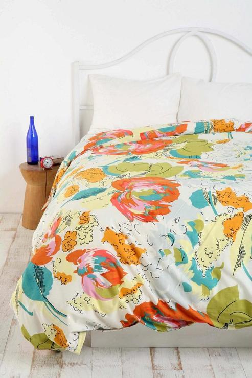 Bedding - UrbanOutfitters.com > Watercolor Floral Duvet Cover - duvet cover and shams, watercolor, orange, turquoise