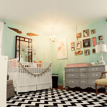 Lay Baby Lay - nurseries - photo gallery, black and white rug, white and black rug, chevron rug, black and white chevron rug, white and black chevron rug, gray changing table, french changing table, gray french changing tables, french dresser, gray dresser, dresser as changing table, dresser used as changing table, angel wings gold angel wings, gilt angel wings,