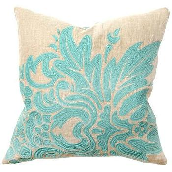 Pillows - Flora Turquoise Embroidery Pillow Pair - pillow