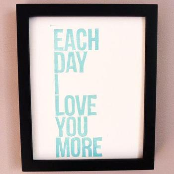 Art/Wall Decor - EACH DAY I Love You More Sky Blue Handcarved Linocut by inkstomp - art, print