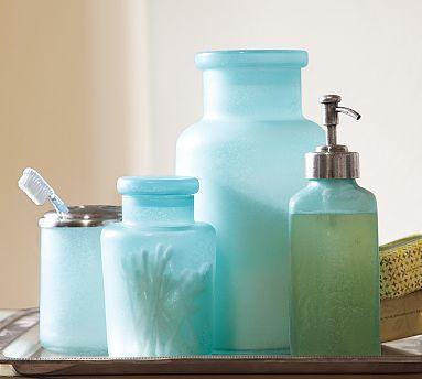 blue beach glass bath accessories pottery barn