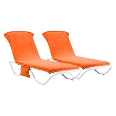 Outdoor patio orange chaise lounge towel cover set of 2 for Chaise lounge cover towel