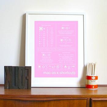 Art/Wall Decor - Mac Os X Shortcuts Pink by birdAve on Etsy - etsy, art