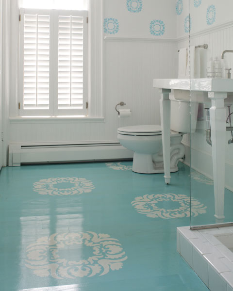 bathrooms - turquoise blue floor, turquoise floor, painted floor, turquoise painted floor, stenciled floor, stenciled bathroom floor,  sunnypaint.com