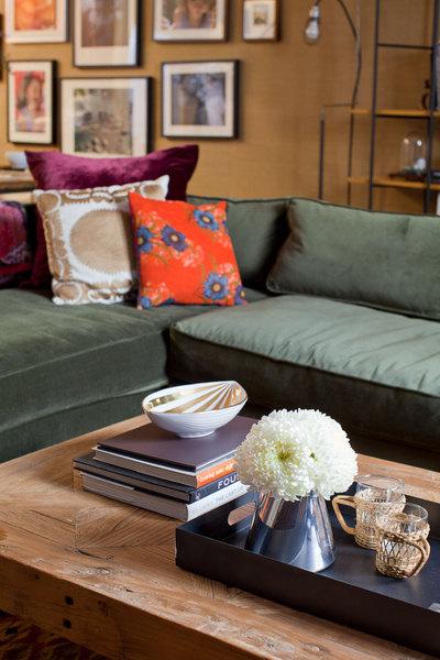 velvet sectional sofa  eclectic  living room  emily