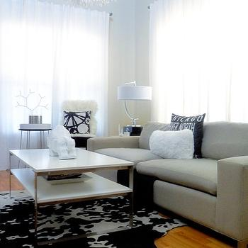Black and White Cowhide Rug, Contemporary, living room, Desert Domicile