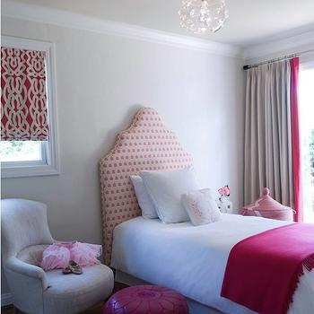 Jute interior Design - girl's rooms - pink throw, pink blanket, pink throw blanket, pink headboard, upholstered pink headboard, pink and gray curtains, pink and gray drapes, hot pink pouf, hot pink leather pouf, hot pink moroccan pouf, hot pink moroccan leather pouf,