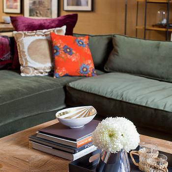 Emily Henderson - living rooms - velvet sectional, hunter green sofa, hunter green couch, green sofa, green couch, green velvet sectional,  living