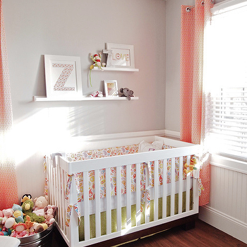 Cape 27 - nurseries - pink drapes, pink curtains, pink window panels, pink grommet drapes, pink grommet curtains, pink grommet window panels, , white crib, light gray walls, pink and gray nursery,