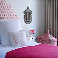 Jute interior Design - girl's rooms - pink throw, pink blanket, pink throw blanket, pink headboard, upholstered pink headboard, gray curtains, gray drapes, pink hamper basket, pink hamper, pink african hamper,