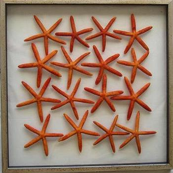 Art/Wall Decor - Mecox Gardens - Large Framed Floating Starfish Detail - starfish art