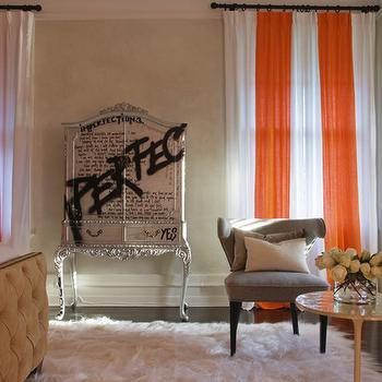 Jarlath Mellett - bedrooms - orange and white curtains, orange and white drapes, orange and white window panels, armoire, silver armoire, french armoire, armoire with graffiti art, graffiti art armoire,