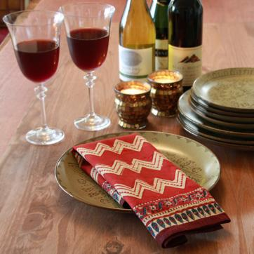 Decor/Accessories - Red Cotton Napkins, Red Cloth Dinner Napkins, Red Table Napkins - red, zigzag, napkins