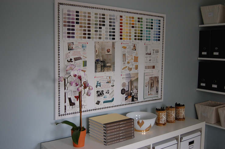 Suzie: My Office  blue gray walls paint color, white denim fabric bulletin board with nailhead ...