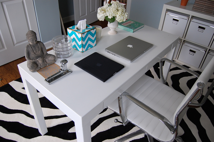 dens/libraries/offices - Benjamin Moore - Smoke - Overstock Student Desk, Walmart Zebra Rug, Ikea Expedit, Ikea KASSETT, Target, office chair, blue, gray, walls, blue, chevron, tissue box, zebra rug,