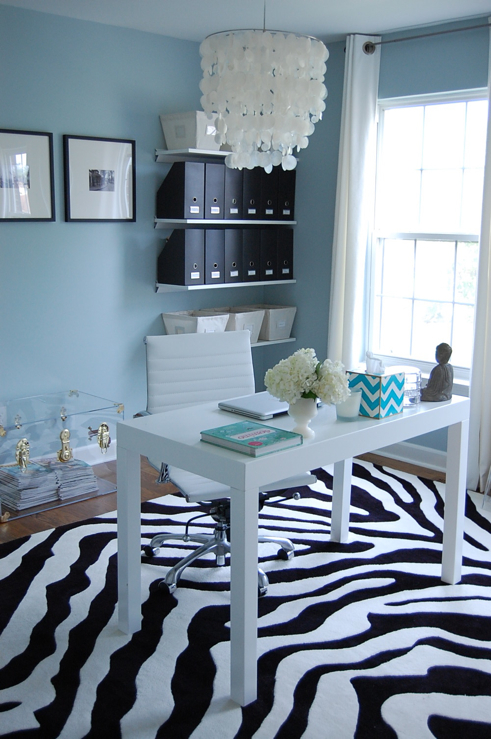 Zebra Rug, Contemporary, den/library/office, Benjamin Moore Smoke