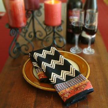 Decor/Accessories - Red Cotton Napkins, Red Cloth Dinner Napkins, Red Table Napkins - black, zigzag, napkins
