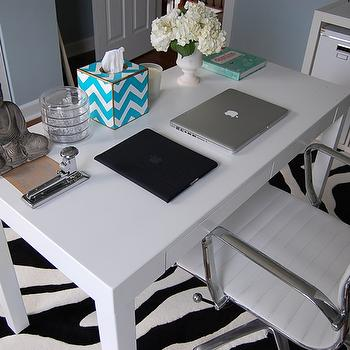 dens/libraries/offices - parsons desk, chevron tissue box, zebra rug, ikea expedit, Overstock Student Desk, Walmart Zebra Rug, Ikea Expedit, Ikea KASSETT,