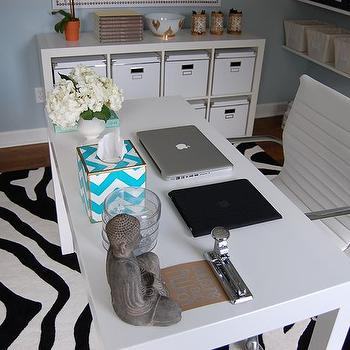 dens/libraries/offices - white parsons desk, parsons desk, chevron tissue box, floating shelves, office shelves, zebra rug, ikea expedit, Walmart Zebra Rug, Overstock Student Desk, Parson Desk,