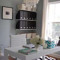 dens/libraries/offices - blue, gray, walls, West Elm, capiz, chandelier, acrylic, trunk, JCP, grommet, drapes, blue, chevron, tissue box, Overstock Student Desk, CB2 Linear Wine Rack, Acrylic Trunk,