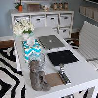 dens/libraries/offices - Target, office chair, Nate Berkus, ikat, bowl, acrylic, trunk, floating shelves, blue, chevron, tissue box, Walmart Zebra Rug, Overstock Student Desk,