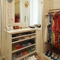 Melanie Fascitelli - closets - walk-in, glass, accessory, cabinet,  Walk-in closet design with glass accessory cabinet and jewelry board.