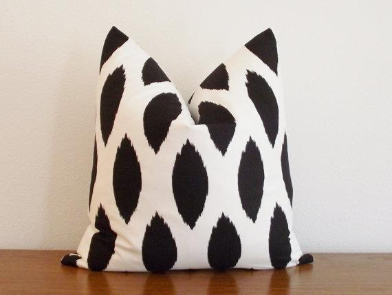 Black And Ivory Throw Pillows : Decorative Pillow Cover Black Ivory/ White Ikat by kassapanola