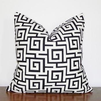 Decorative Pillow Cover Greek Key Black Ivory by kassapanola