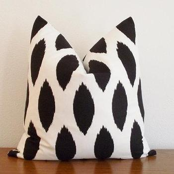 Pillows - Decorative Pillow Cover Black Ivory/ White Ikat by kassapanola - white, black, ikat, pillow