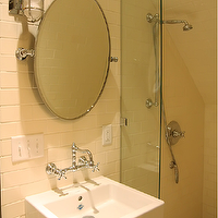 Urban Grace Interiors - bathrooms - attic bathroom, attic bathroom ideas, attic shower, attic shower ideas, glass shower partition, subway tiled shower, oval picot mirror, wall mounted sink, maritime sconces, wall mounted faucet, floating sink, floating bathroom sink, , Marine Wall Light,
