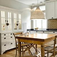 Loft - kitchens - white, mirrored, buffet, hutch, gray, walls, soapstone, counter tops, x-back, cafe, chairs,  Beautiful kitchen design with