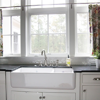 Urban Grace Interiors - kitchens - black countertops, farmhouse sink, cafe curtains, kitchen cafe curtains, kitchen with cafe curtains, white cabinets with black countertops,