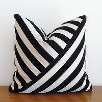 Pillows - Decorative Pillow Cover Velvet Stripe Black Ebony by kassapanola - white, black, striped, pillow
