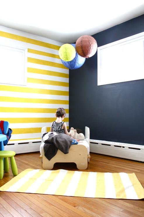 boy's rooms - Benjamin Moore - Yolk Hale - newyorknurserytales.blogspot.com, Hudson's striped Big Boy Room, Striped Nursery, Chalkboard Wall, striped nursery, striped nursery walls, yellow striped walls, yellow striped nursery, yellow striped nursery walls,