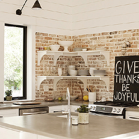 Urban Grace Interiors - kitchens - exposed brick wall, white, shelves, white, kitchen cabinets, gray, corian, counter tops,  Gorgeous kitchen