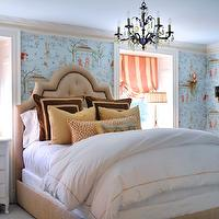 bedrooms - french bedroom, tufted bed, tufted headboard, chinoiserie wallpaper,  Ashbourne Designs