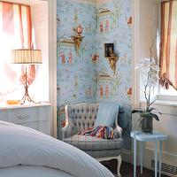 bedrooms - antique chair, wallpaper, lamp,  Ashbourne Design