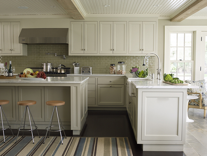 Marshall Watson Interiors - kitchens - beadboard ceiling, pot filler, white, upper, top, kitchen cabinets, gray, lower, bottom, kitchen cabinets, gray, kitchen island, marble, countertops, modern, stools, green, blue, brown, striped, rug, beadboard ceiling, beadboard kitchen ceiling, kitchen beadboard ceiling,