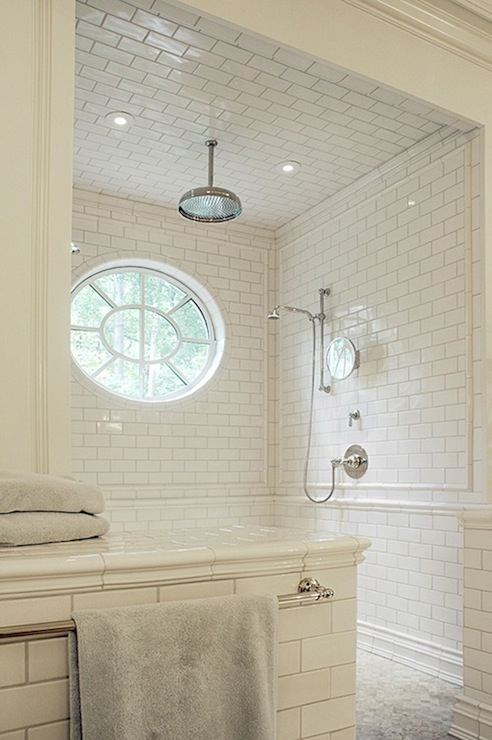 Subway tile shower transitional bathroom litchfield designs - Open shower bathroom design ...