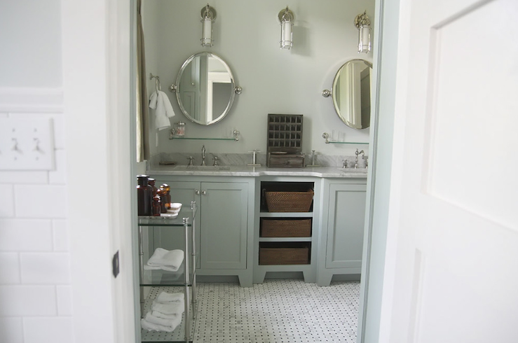 Gray green cabinets cottage bathroom urban grace for Green and gray bathroom designs